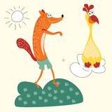 Vector illustration of foxes and yellow Turkey suitable for children`s books, clothes, cards. A cunning red Fox wants to catch a T. A cunning red Fox wants to vector illustration