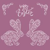 Easter bunny rabbit hand drawn Vintage card. royalty free illustration