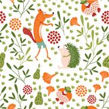 Sly Fox, hedgehog and Mr. bird walk in a forest glade. Forest animals seamless baby pattern. Background for children`s room, books royalty free illustration
