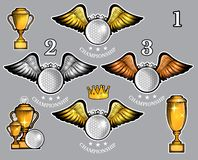 Golf balls with wings cups and crown. Vector set of sport logo for any team. And championship vector illustration