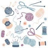 Handmade Kit Icons Set. Sewing, Needlework, Knitting: scissors, thread, needles, yarn balls. Arts and crafts hand drawn supplies. Hobby tools collection. Flat vector illustration