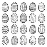 Happy Easter eggs collection, hand drawn set, vector. 20 different designs. Cartoon style illustration Isolated on white background stock illustration