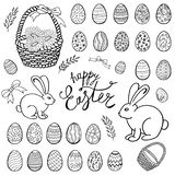 Happy Easter objects collection, hand drawn set, vector. vector illustration