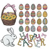 Happy Easter objects collection, hand drawn set, vector. stock illustration