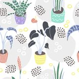 Flat color houseplants in pots had drawn pattern stock illustration