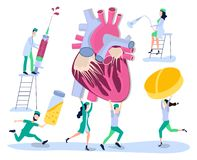 Heart of man. Prevention, treatment and diagnosis of heart disease, cardiovascular disease. A doctor, a nurse and a cardiologist p. Human health. Prevention vector illustration
