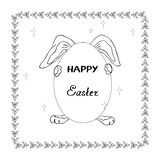 Illustration of a rabbit holding an egg in the feast of Resurrection for kids coloring and card design decoration royalty free illustration
