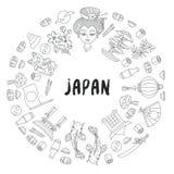 Japan doodle line icon decorative frame vector illustration