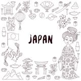 Japan doodle  vector icons set stock illustration