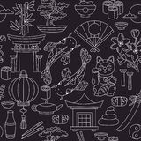 Japanese doodle seamless vector pattern stock illustration
