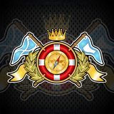 Lifebuoy with crown in center of golden wreath between wings and flags. Sport logo for any yachting or sailing team. Or championship royalty free illustration