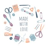 Made with love. Hobby tools in round circle frame. Handmade Kit Icons Set: Sewing, Needlework, Knitting. Arts and crafts hand drawn sketch supplies, tools vector illustration