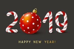 New Year 2019 candy numbers. New Year concept - 2019 candy numbers stock illustration