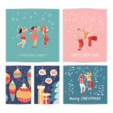 Vector illustration. New year party, carnival, festival, Holiday. People from all over the world celebrate Christmas and New year. New year party, carnival royalty free illustration