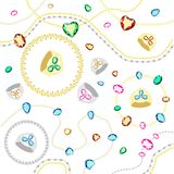Colored gems of different cut. Gold and silver chains with diamonds of different cuts. Postcard with colorful gems. Set of gold and silver rings. Gold chains stock illustration