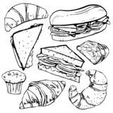 Sandwiches, pastries and croissants. Hand drawn outline sketch vector set stock illustration