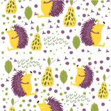 Seamless pattern of forest animals. Good hedgehog sitting in a forest clearing. Background for children`s room, books, fabrics, p. Ostcards, pattern for baby vector illustration