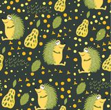 Seamless pattern of forest animals. A hedgehog with green needles sits on the forest miss glade. Wallpaper for children`s room, bo. Oks, fabrics, cards, pattern royalty free illustration