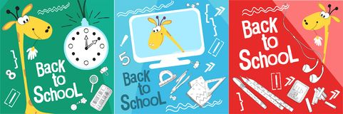 Set back to school vector illustration. Style comics cartoon about school. For the youngest children. The giraffe is getting ready royalty free illustration