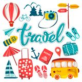 Travel, planning a summer vacation, adventure or business trip. Hand-drawn cartoon icons, tourist objects and passengers ` Luggage stock illustration