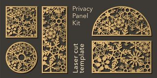 Set of openwork panels for laser cutting. Carved decorative element for interior design, room partition, screen, privacy royalty free illustration