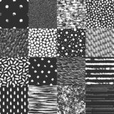 Set of 16 seamless pattern. Abstract forms drawn a wide pen and ink. Backgrounds in black and white. Set of 16 seamless pattern. Drops, points, lines, stripes royalty free illustration
