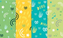 Original design of fabrics and backgrounds for textiles. A set of seamless patterns with elements of plants, grass, stars, curls, vector illustration