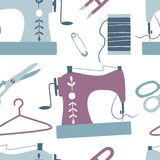 Sewing seamless pattern: sewing machine, scissors, thread stock illustration