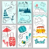 A collection of tourism banners, flyers, bus posters, Luggage, travel objects. Planning a summer holiday, travel to the mountains vector illustration