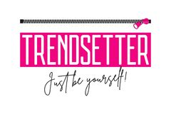 Trendsetter slogan with zipper. Fashion print for girls t-shirt with fastener. Typography graphics for tee shirt. Vector stock images