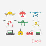 Печать. Vector drone icons on a white background. Digital flying copters with action cameras Stock Photography