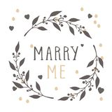 Vector hand drawn illustration of text MARRY ME and floral round frame. stock illustration
