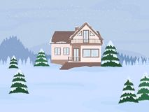 Vector illustration of suburban family house with mansard and firs against the winter landscape background. Vector illustration of suburban family house with stock illustration