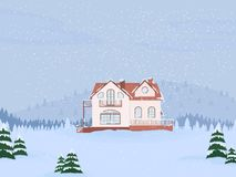 Vector illustration of suburban family house with mansard,lake and firs against the winter landscape. Vector illustration of suburban family house with mansard royalty free illustration