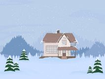 Vector illustration of suburban family house with mansard and firs against the winter landscape. Vector illustration of suburban family house with mansard and stock illustration