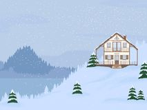 Vector illustration of suburban family house with mansard,lake and firs against the winter landscape. Vector illustration of suburban family house with mansard stock illustration