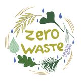 Zero waste circle lettering royalty free illustration