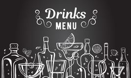 Vector outline hand drawn illustration with alcohol bottles and glasses with drinks on blackboard background. Menu design template stock illustration