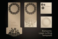 Vintage envelope and invitation for laser cutting. Openwork cover and card design for wedding, Valentine`s Day, romantic vector illustration