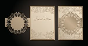 Vintage envelope and invitation for laser cutting. Openwork cover and card design for wedding, Valentine`s Day, romantic. Party. Vector illustration vector illustration