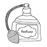 Vintage perfume bottle. Artistic line art sketch royalty free stock photos