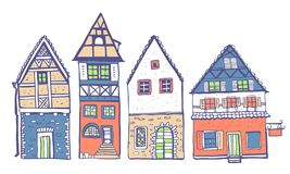 Vintage stone Europe houses. Four old style building facades. Hand drawn color vector sketch illustration stock illustration