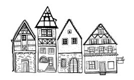 Vintage stone Europe houses. Four old style building facades. Hand drawn outline vector sketch illustration vector illustration