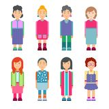 Set of females characters in flat design. Women standing on white background. Cute geometric flat style. Vector illustration Vector Illustration