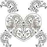 ПечатьFloral heart with ornamental elements for printing postcards and T-shirts on white background Stock Images