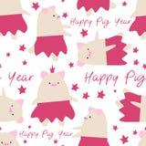 ПечатьSeamless cartoon pig New Year symbol cute pattern. Seamless cartoon pig New Year symbol cute pattern background stock illustration