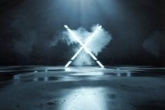 перевод 3d сини облегчает форму алфавита x перед предпосылкой и полом стены grunge с лужицами иллюстрация штока