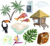 Перемещение на острове установило с пальмами, бунгало, тропическими цветками, рыбами и птицами иллюстрация вектора