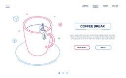 Перерыв на чашку кофе - линия знамя сети стиля дизайна равновеликое иллюстрация вектора