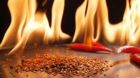 Перцы и пламена в супер замедленном движении сток-видео